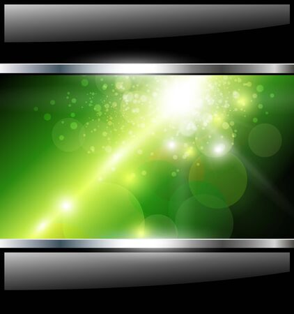 Abstract background, green with black glossy banners, vector.