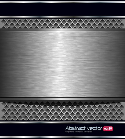 Abstract technology background with brushed metal banner. Vector