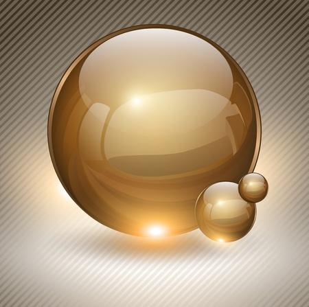 gold decorations: Fondo abstracto con bolas de cristal oro como bocadillo Vectores