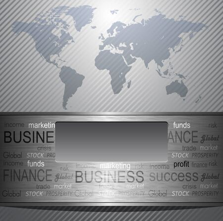Business background grey metallic with world map, Stock Vector - 10058341