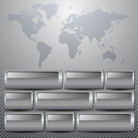 Business background grey metallic with world map. Vektoros illusztráció