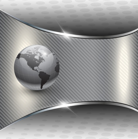 world economy: Business background grey metallic with earth globe