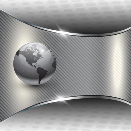 globo terraqueo: Gris de fondo de negocio metalizado con globo de tierra  Vectores