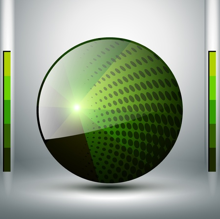 Abstract background with green sphere, vector. Vector