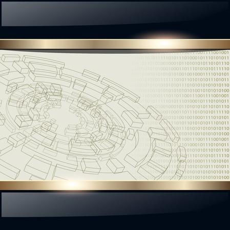 Technologie de fond avec disque filaire, vecteur. Vecteurs