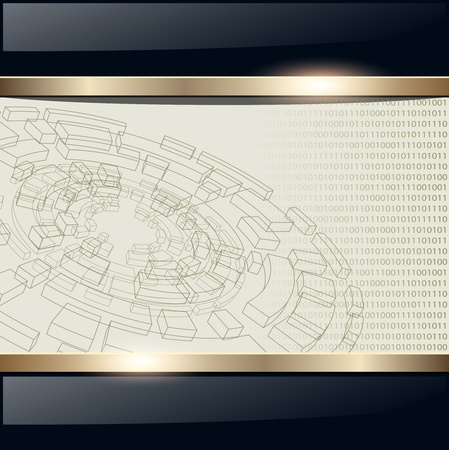 work place: Technology background with wireframe disk, vector. Illustration