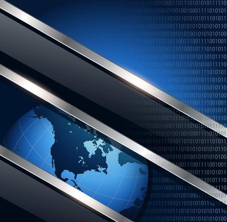 metal net: Azul de fondo de negocio met�lico con el planeta tierra, vector