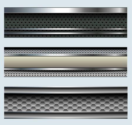 buttons: Banner, metallici sfondi set, moderni design. Vettoriali