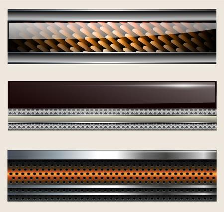 website buttons: Banners, metallic set, modern backgrounds design.