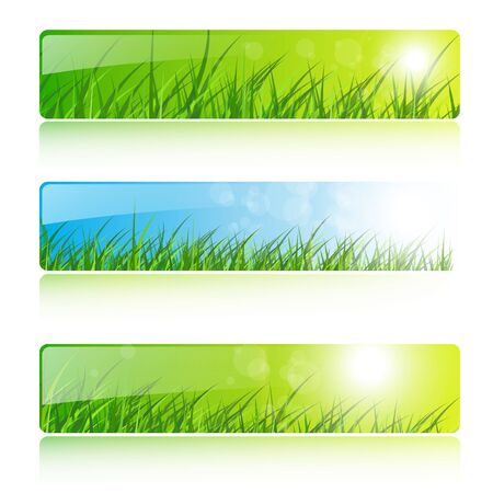 header label: Banners with grass and sun. Illustration