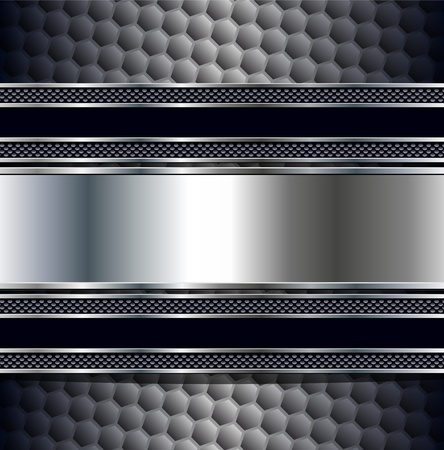 Abstract background, metallic silver banners. Vector