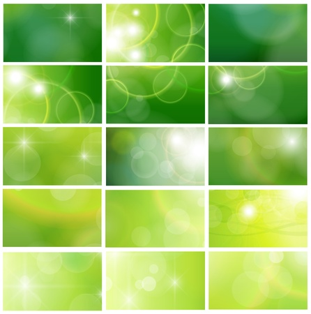 blurry lights: Green business cards collection, editable vector.
