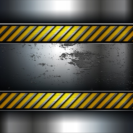 Metal background template with warning stripe, vector. Vector