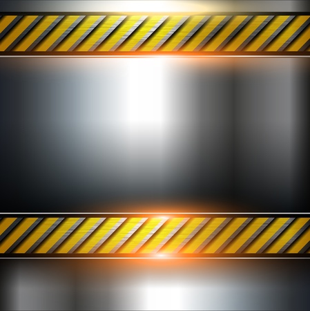 Abstract  background, metal template with warning stripe, vector. Vector
