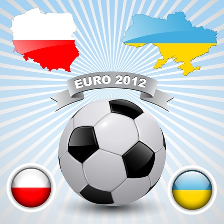 Europe on football 2012, background with  Ukraine and Poland maps, vector Vector