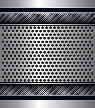 Abstract metallic background with punched holes pattern, vector.