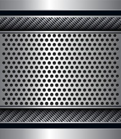 Resumen fondo metálico con patrón de agujeros perforada, vectores. Ilustración de vector