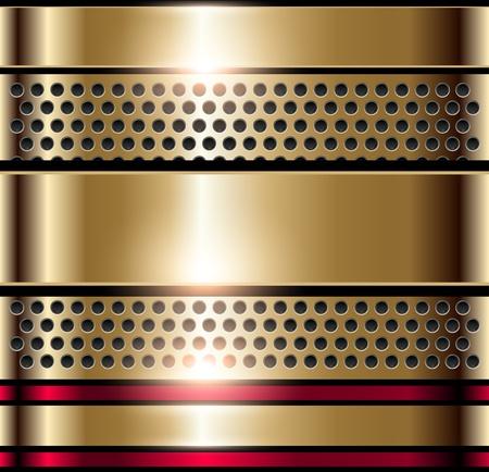 placa bacteriana: Fondo met�lico brillante oro, vector. Vectores