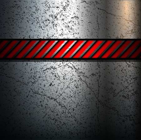 Metal background with warning stripe, vector. Vector