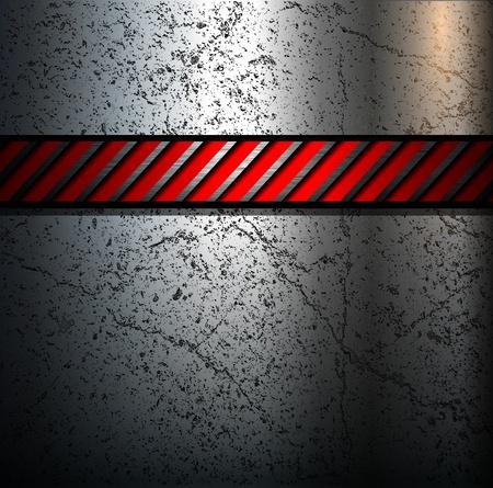 lamiera metallica: Sfondo con striscia di avviso in metallo, vettoriale.
