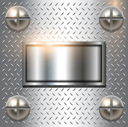 Metal background with screws, vector. Illustration