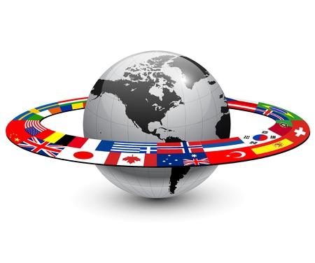 world economy: Earth planet with orbit made from national flags