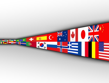 international flags: Business background with international flags