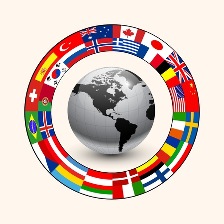international flags: Business background, ring of flags around earth.