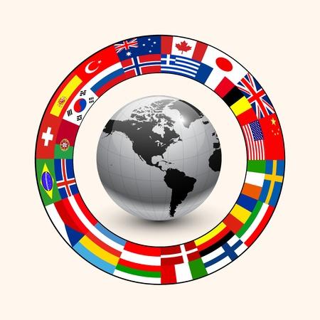 economie: Zakelijke achtergrond, ring van vlaggen rond de aarde.