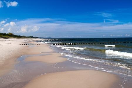 seashores: Baltic sea coast, beautiful beach and waves.