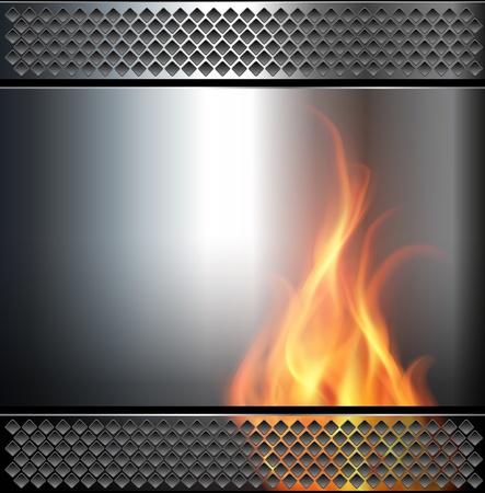 on metal: Fondo abstracto, met�lico con llamas de fuego de vector. Vectores