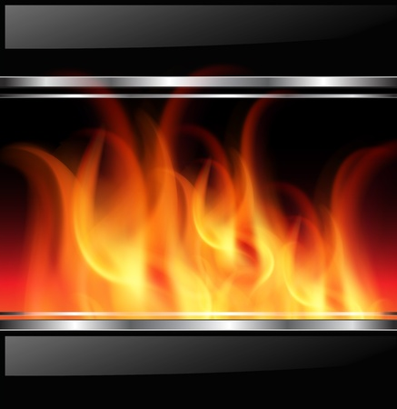 Background with vector fire, flames and metallic banners. Vector