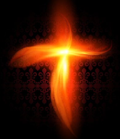 cross light: Abstract background with burning fire cross, vector.