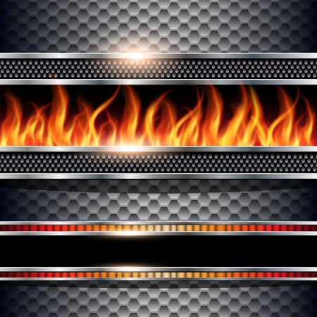 heater: Abstract background, metallic with realistic fire flames, vector.