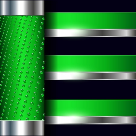 metallic banners: Abstract background elegant green with metallic banners