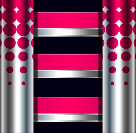 metallic banners: Abstract background with metallic banners and pillars Illustration