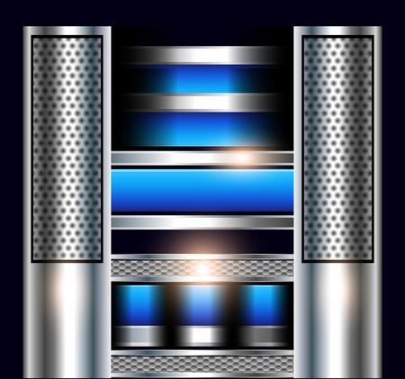 실린더: 금속 배너와 추상적 인 기술 배경 일러스트
