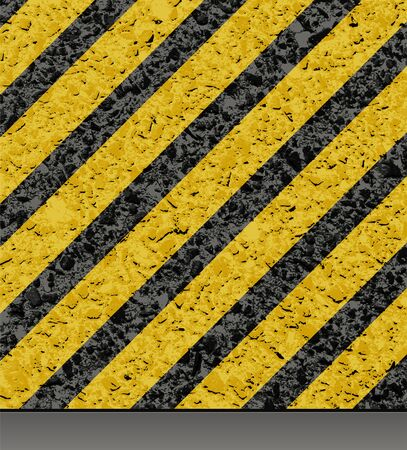 Background with asphalt road texture and hazard stripes. Vector