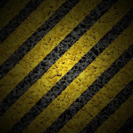 hazard stripes:  with hazard stripes.  Illustration