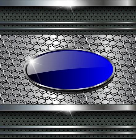 금속의: 텍스트에 대 한 푸른 버튼을 추상적 인 배경 금속 회색 .. 일러스트