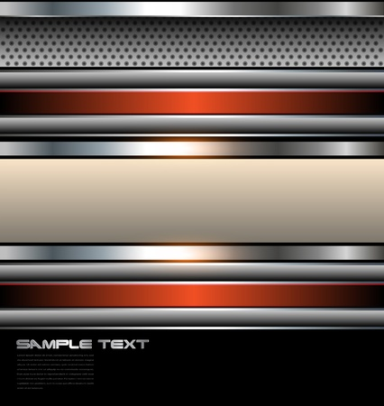 solid silver: Abstract background with metallic banners, vector.