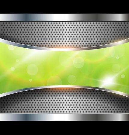 хром: Абстрактный фон с зеленым знаменем, вектор. Иллюстрация