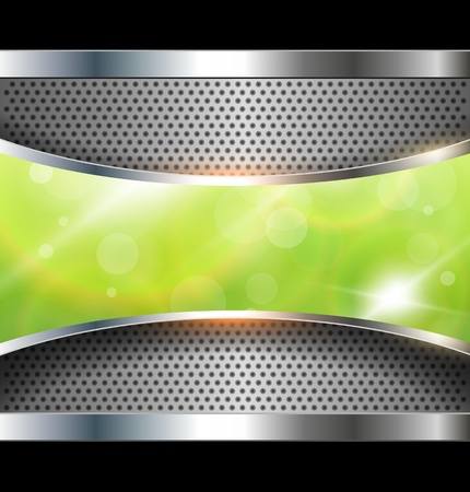 solid silver: Abstract background with green banner, vector.
