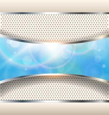 metallic banners: Abstract background with blue banner, vector.