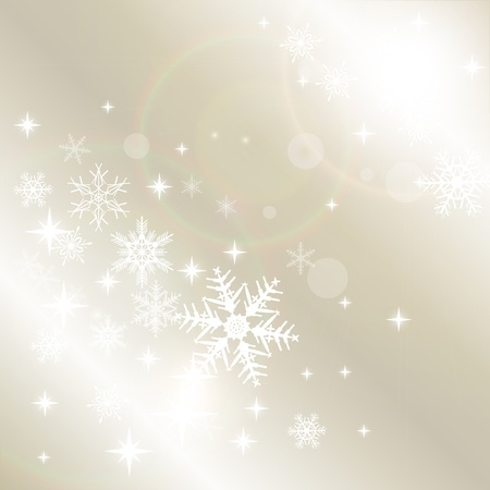 beige: Winter christmas background with snowflakes, vector. Illustration