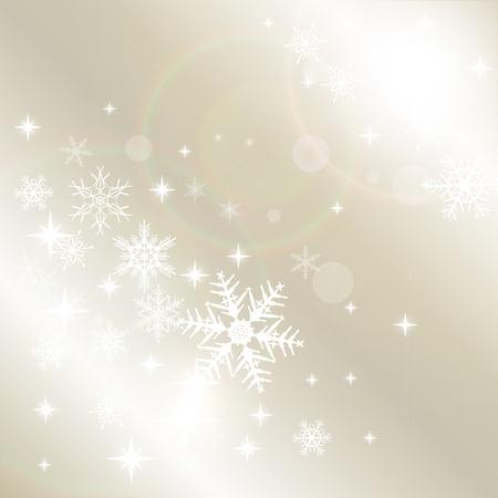beige stof: Winter Kerst achtergrond met sneeuwvlokken, vector.