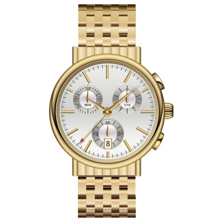 Analog watch elegant luxury gold. Vector