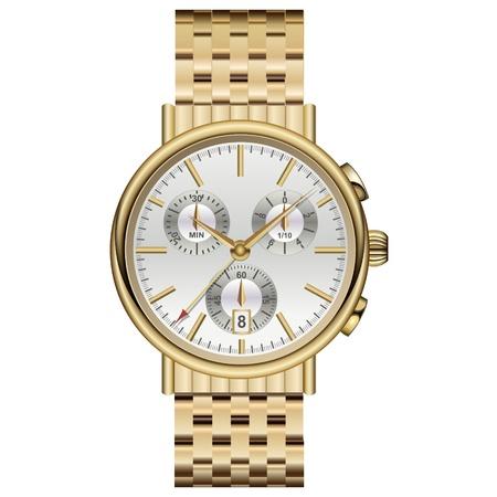 orologio da polso: Elegante orologio analogico lusso d'oro. Vettoriali