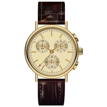 Analog watch elegant gold. Vector