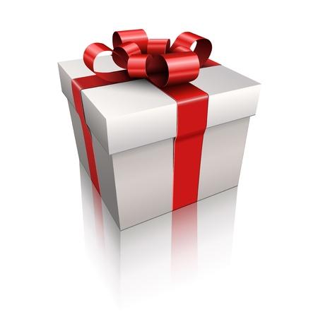 Vector Geschenkkarton mit rotem Band und Bogen.
